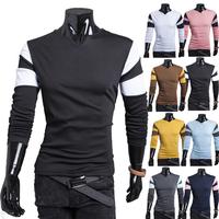 Free shipping 2014 hot sale new autumn/winter fashion men long sleeve t-shirt casual slim splicng cut collar design men t-shirt
