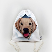 Wholesale creative leisure street draw string with a backpack, cartoon dog to receive bag, backpack tourism dog pattern