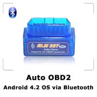 2014 Super Mini ELM327 Bluetooth Android 4.2 OBD2 OBDII auto code reader Car diagnostic interface FREE SHIPPING