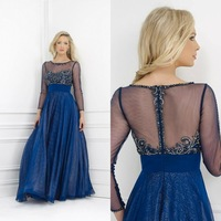 2014 New Arrival Illusion Neck with Long Sleeves See Through Blue Chiffon Crystals Mother of Bride Dress with Sleeves