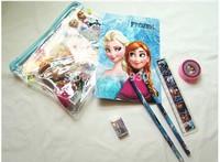 New 12 sets Transparent PVC Frozen Pencil Sets Case Note book Eraser Ruler Stationery Anna Elsa Bags For Kids School Exams  #PB2