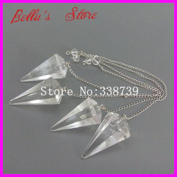 10PCS Rock Crystal Quartz Point Pendulum Dowsing Crystal Point Pendant with Silver Chain Healing Chakra Reiki Pendant Pendulum(China (Mainland))