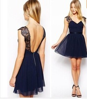 New 2014 Summer Sexy Women Chiffon Lace Backless Pinched Waist V-Neck Sleeveless Dress Evening Vestidos[240484]