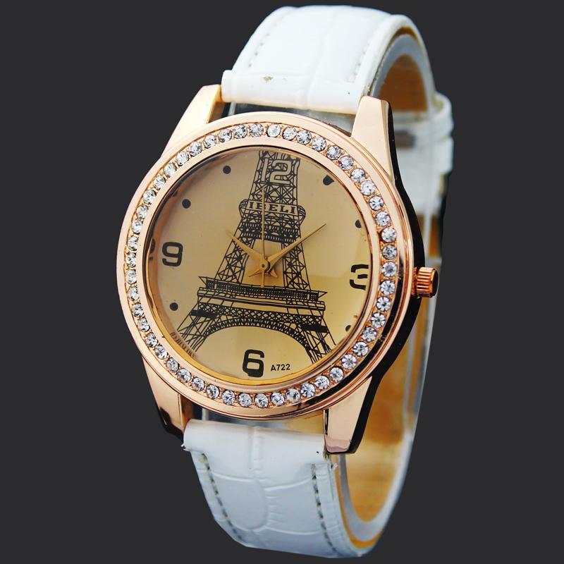 Newest White Eiffel Tower Lady Girls Women s Jewelry Diamond Xmas Gifts Hours Quartz Clocks Analog
