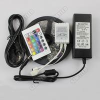RGB led strip Light 3528 5M 300led fita Led Lamp 12V Ribbon +24key IR remote controller + 3A Power Adapter EU/US Plug ,Free Ship