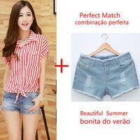 2014 New Summer women Tie Stripe Print Short Sleeve Chiffion T shirt Vintage Casual Desigual Tops plus jeans shorts nz188+nz185