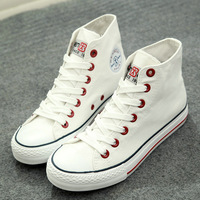 2014 high-top canvas shoes woman flat shoes solid color men casual sneakers free shipping