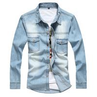 2014 Spring Wear Men Jeans Shirt Denim Jeans Wash Blue Long-Sleeve Shirt High Quality Denim shirts men Free Shipping