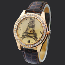 New Brown Eiffel Tower Lady Girls Women's Jewelry Diamond Xmas Gifts Hours Quartz Clocks Analog Wrist Watches, Free Shipping