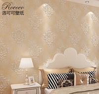 European Classic 3D Embossed Pattern Living Room Backdrop Non-woven Wallpaper Bedroom Environmental Household Fresco Wall Paper