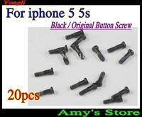 Hot sell Free shipping~20 pcs New Original Black 5 Point Star Pentagen Pentagonal Screws Buttom Screws Dock for iPhone 5 5s