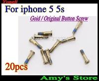 Free shipping~20 pcs Gold New Original  5 Point Star Pentagen Pentagonal Screws Buttom Screws Dock for iPhone 5 5s Hot sell