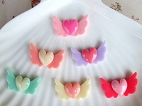 30pcs Mixed color Angel wings heart cabochon