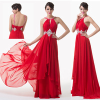 Gorgeous Women Elegant Floor Length Backless Vestidos Sequins Beaded Sexy Long Evening Prom Dresses Red Slim Party Gown CL6184