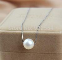 FASHION WOMEN 925 silver  Single grain 9-10MM natural pearl pendant necklace