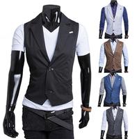 Free Shipping 2014 New Arrival Fall Men's Casual Slim vests Fashion pure Color double button handsome vest men 5 colors