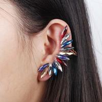New Fashion Multicolor Rhinestone Ear Cuff Luxury Punk Clip Earring For Women Stud Earrings Free shipping