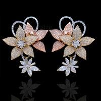 2014 Light Fashion Women Jewelry Diamond Engagement Earrings In 14Kt Multi Tone Gold WE55