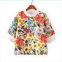 2014 New Autumn Girls Vintage Floral Prints Half Sleeves Sweatshirts Ladies Leisure Tops 2002306502