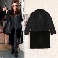 Free Shipping Winter Victoria Style Black Hem Spliced Mink Warm Wool Coat  140917HU06
