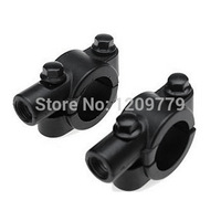 "New MOTORCYCLE BLACK HANDLEBAR MIRROR MOUNT UNIVERSAL 10MM 7/8"" ALUMINUM CLAMP Fits all in 10mm stud mount mirrors IA850 P"