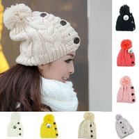 New 2014 Winter Cap Women Warm Woolen Knitted Fashion Hat For Gilrs Woman hat Fur Cap SkulliesJonadab Button Twisted Beanie Cap