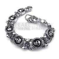 Topearl Jewelry Men Stainless Steel Bracelet Gothic Skulls Vintage MEB128