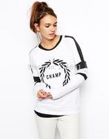 2014 New fashion Europe Women fashon letter printed Hoodies coats Lady casual color matching Sweatshirt #J372