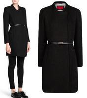 2014 new winter coat women fashion trench coat overcoat European style knit long wool coat  sections have belt
