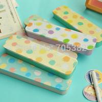 New Colorful dot pencil box,pen case,DIY metal pencil case,kawaii stationery,Free shipping(tt-2000-1)