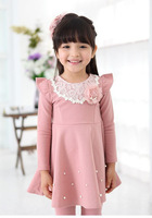 Retail 2014 New autumn winter Kids Toddlers Girls dress ,Pearl Lace Cotton Long Sleeve Dress girl clothing