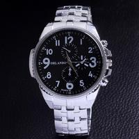 Trendy wholesale big dial top brand watch stainless steel watches men white adjustable quartz analog fashion gift dropship