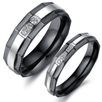 New Men / Women Lovers AAA Cubic Zirconia Black Couples Ring Fashion Stainless steel Crystal Wedding Jewelry Top Quality