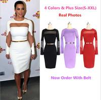 2014 Autumn Winter New Kim Kardashian Midi Celebrity Dresses Sexy Sheer Long Sleeve Slim Bodycon Women Pencil Dress With Belt