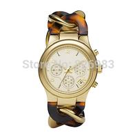 2014 New Brand Quartz Watch Luxurious Women Men wristwatch Runway Twist Gold-Tone Stainless Steel Tortoise Acetate Watch MS4222