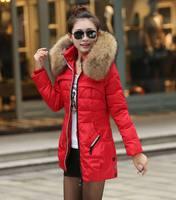 JK-346 Woman's Snow Wear Big Fur Hooded Down Jacket Woman Warm Down Coat Medium Long Winter Jacket White Duck Down 90% JK-346