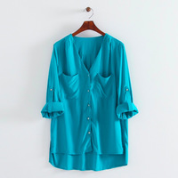 2014 New Autumn Women Pure Color V Neck Blouses Ladies Casual Full Sleeves Shirts 1001306502