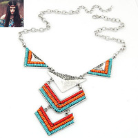 Fashion trend fashion bohemia beads individuality triangle short design necklace personalized jewelry