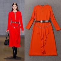 Fall 2014 Elegant long Sleeve Stretch Cotton Long Dress 140917LI01