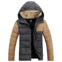 2014 winter new fation down jacket,men's Korean slim version coat,men's hooded patchwork white duck down parka,plus size outwear