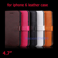 For iPhone 6 4.7 inch Stand Design Wallet Style Soft PU Leather Case Phone Bag Cover With 3 Card Holders for iphone6 5 Colors