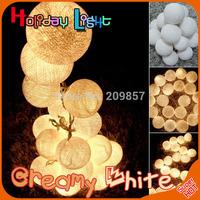 20 Balls/Set 20 Creamy white Cotton Ball Fairy Led String Lights for Natal Christmas New Year Wedding Halloween Decoration