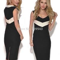 SUPER POPULAR   EUROPEAN Womens V Neck Bodycon Sleeve Stretchy Back Zipper Slimming Pencil Dress
