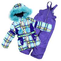 1-4Y beautiful -25 to -30 degree winter ski kids clothing sets New 2014 windproof warm 3pcs sets (waterproof coat+vest+pants)