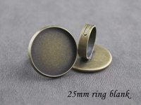 50pcs inside dia. 25mm, round ring blanks-antique bronze