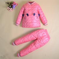 2014 New Winter Eiderdown Clothing Children Down Cotton Down Liner Jacket + Pants Suit Children Long Sleeved Suit YYJ516
