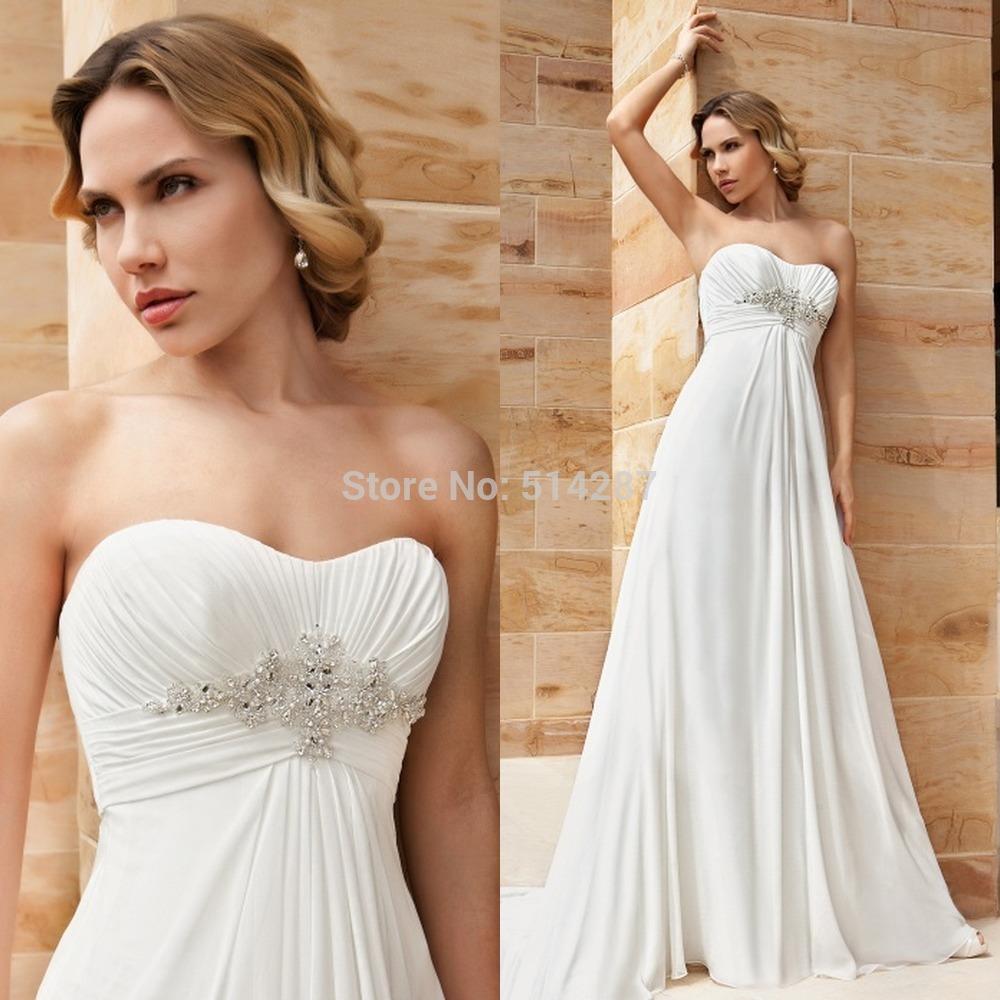 2014 Elegant Vestido De Noiva Strapless Pearls Sashes Long White Beach Chiffon Wedding Dresses Bride Dress For Pregnant Women(China (Mainland))