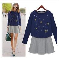 Free shipping 2014 autumn women casual dress plus size 2pcs set cotton long sleeve dresses l1382