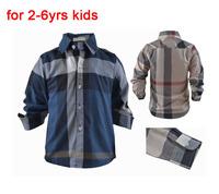 Baby Casual Wear Long Sleeve Shirt For Boys Fit 2-6yrs Boys Shirts Plaid Childrens Blue Beige Brand Kids Plaid Free Shipping 872