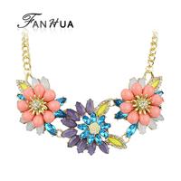 Collares Etnicos Flower Choker Necklace For Women Gold Color Alloy Chain Colares Bijuterias